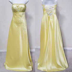 Hand Embellished Yellow Gown by an Artisan